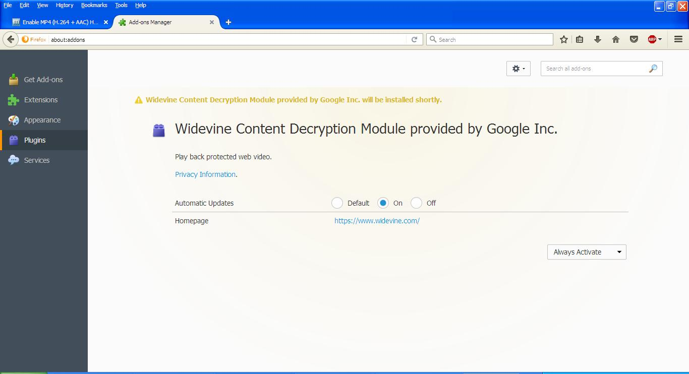 do i need widevine content decryption module