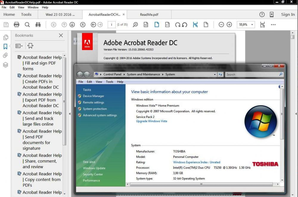 adobe reader dc vista