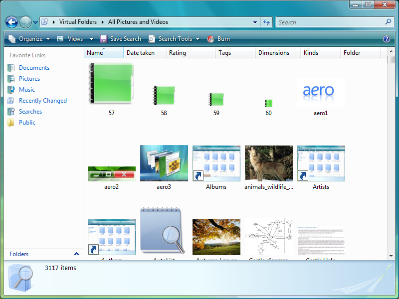 The All Pictures and Videos virtual folder displaying items