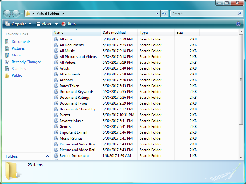 Virtual folders in Windows Vista based on those included in pre-release builds