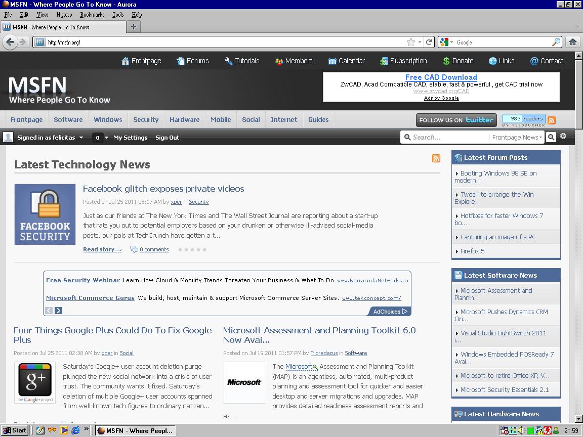 Experimental Firefox 7 build for Windows 98 - Windows 9x