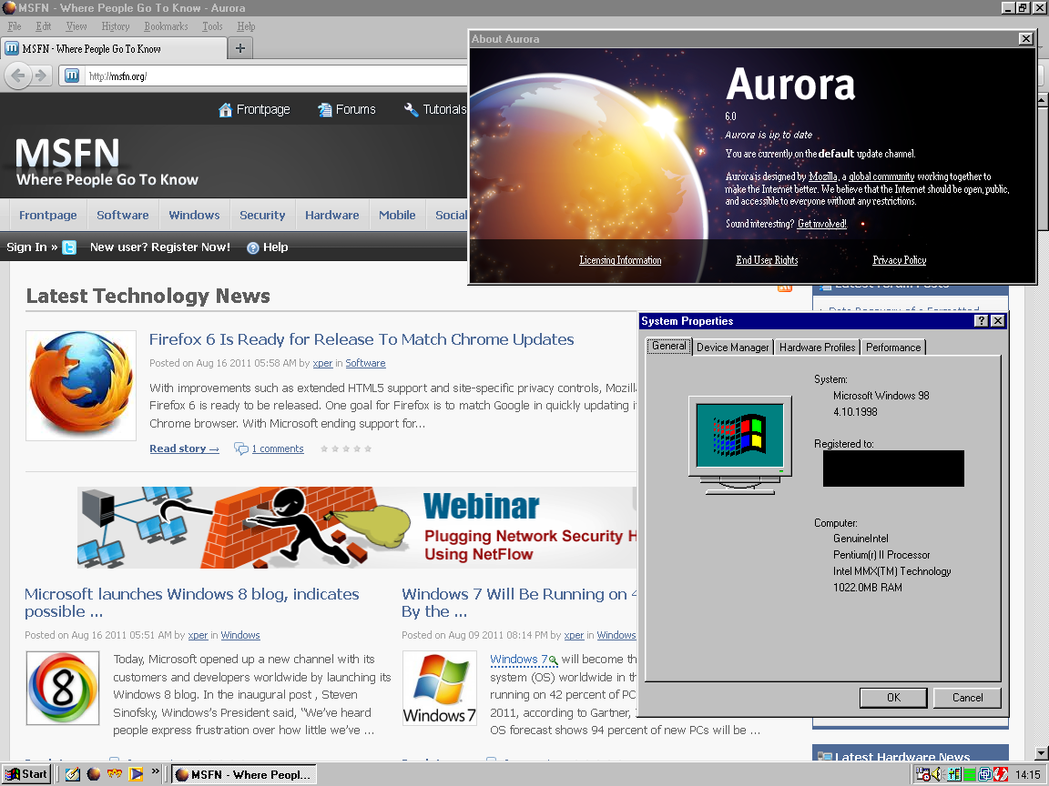Experimental Firefox 7 build for Windows 98 - Windows 9x Member